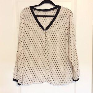Zara Ikat Dot Print V Neck Button Blouse